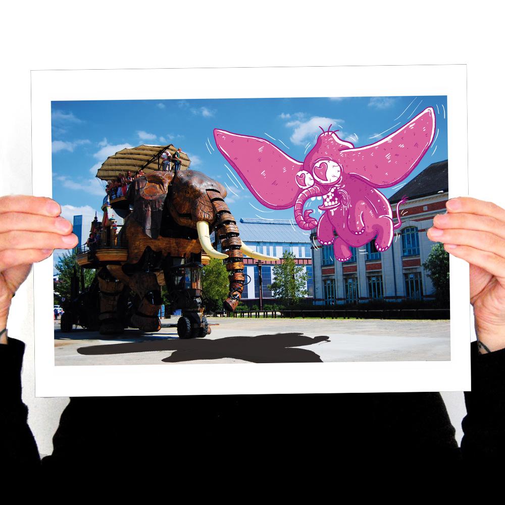 Découvrez une affiche unique et drôle du grand éléphant de Nantes sur notre boutique.